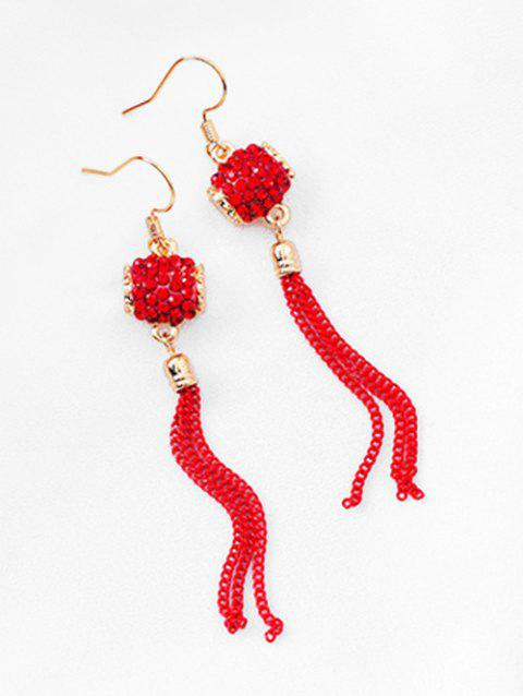 Waist Drum Shape Tassel Earrings - RED