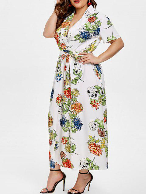 Plus Size Floral Print Mid Calf Dress with Belt - WHITE 2X