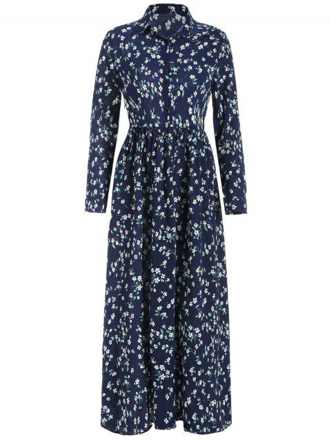 Floral Print Half Button Maxi Dress - DEEP BLUE L