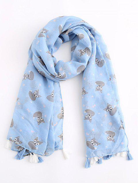Animal Printed Tassel Scarf - SKY BLUE