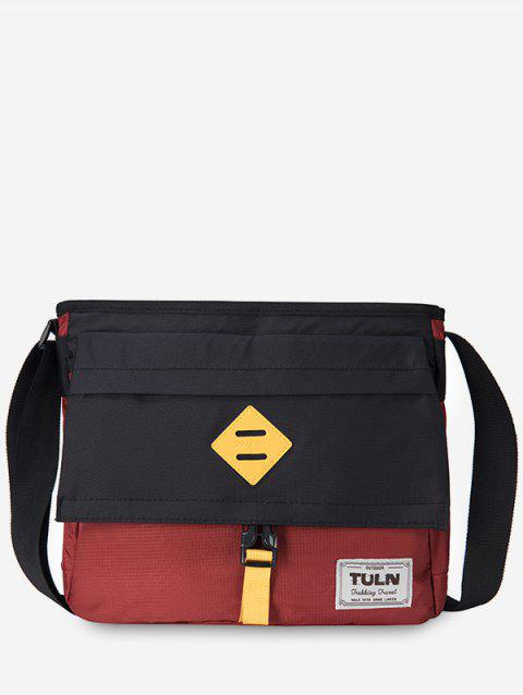 Contrast Color Messenger Bag - CHERRY RED