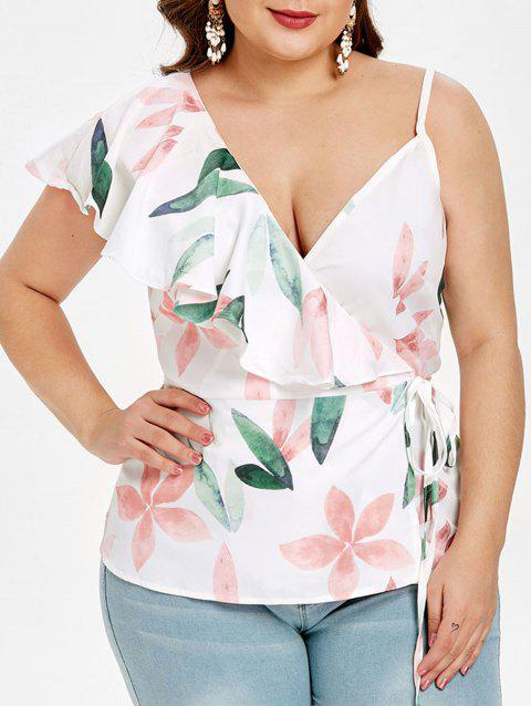 Plus Size Floral Print Ruffle Trim Tank Top - WHITE 2X