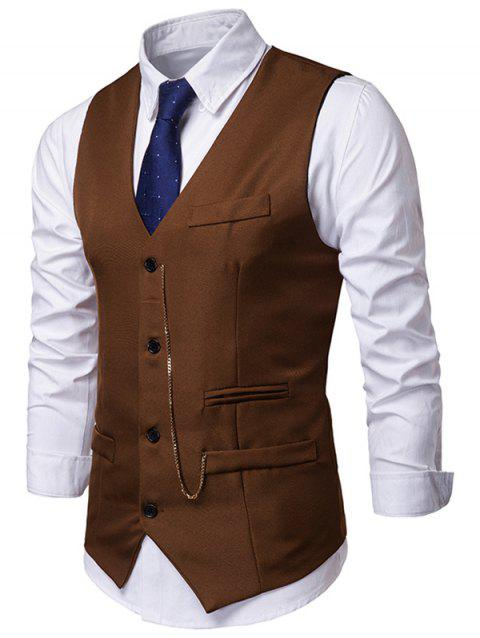 Solid Single Breasted Chain Waistcoat - BROWN L