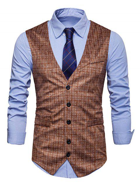 Printed Faux Pockets Decor Single Breasted Soft Waistcoat - LIGHT BROWN L