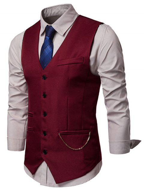 Solid Faux Pockets Chain Embellished Waistcoat - RED WINE XL