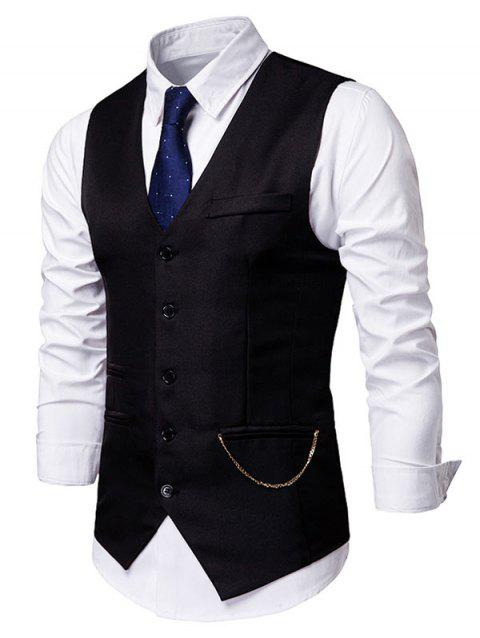 Solid Faux Pockets Chain Embellished Waistcoat - BLACK M