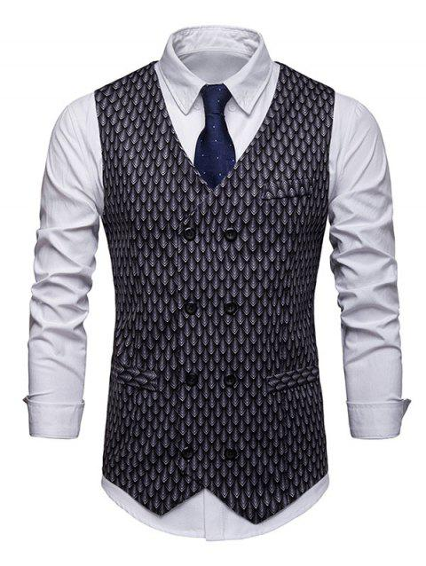Fish Scale Print Double Breasted Waistcoat - BLACK L
