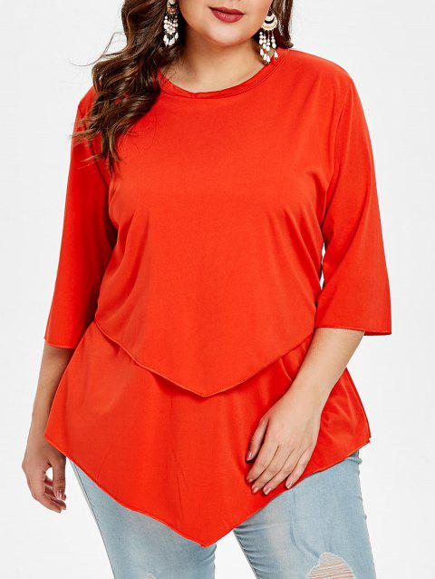 T-shirt Tunique Superposé de Grande Taille - Orange Clair 5X