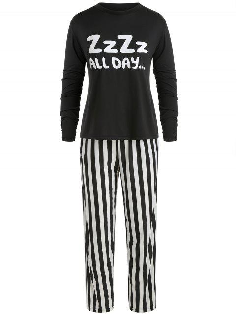 Sleep Set Letter Tee and Striped Pants - multicolor 3XL