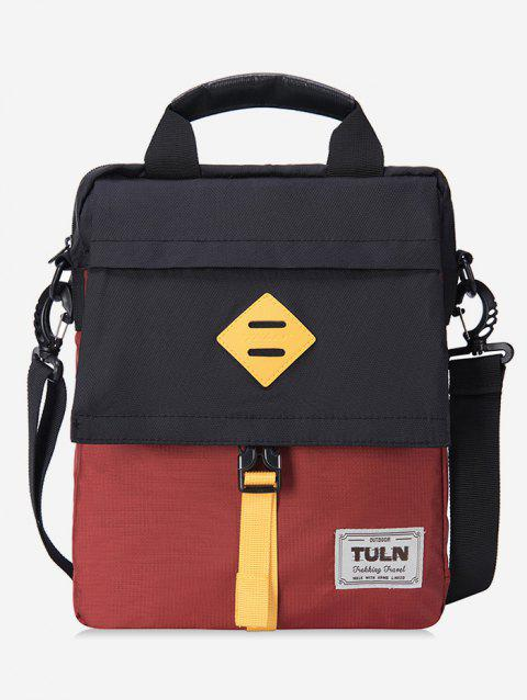 Top Handle Contrast Color Bag - CHERRY RED