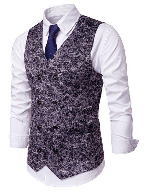 Printed Double Breasted Faux Pockets Embellished Waistcoat - BLACK L