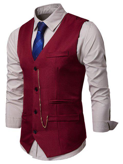 Solid Single Breasted Chain Waistcoat - RED WINE 2XL