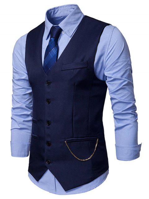 Solid Faux Pockets Chain Embellished Waistcoat - CADETBLUE XL
