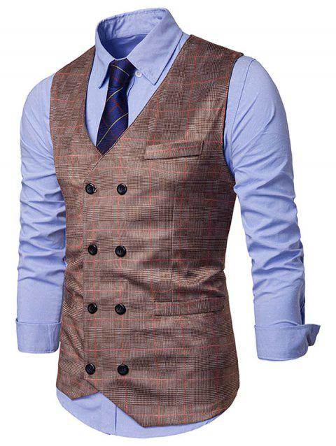 Double Breasted Plaid Print Soft Waistcoat - BROWN L