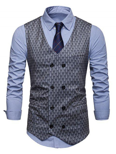 Fish Scale Print Double Breasted Waistcoat - LIGHT GRAY L