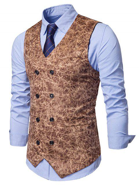 Printed Double Breasted Faux Pockets Embellished Waistcoat - KHAKI M