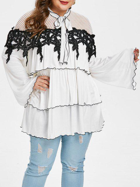 Plus Size Flare Sleeve Tiered Blouse - WHITE 1X