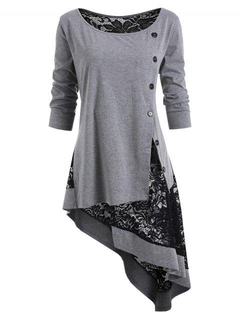 Plus Size Lace Panel Asymmetrical T Shirt - GRAY L