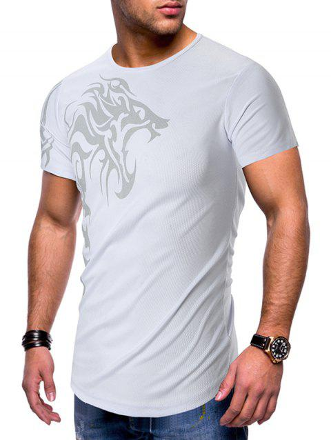 Dragon Printed Breathable Short Sleeves T-shirt - WHITE M