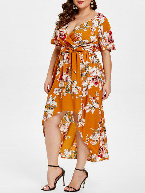 Plus Size Floral Print High Low Dress with Belt - MANGO ORANGE 3X