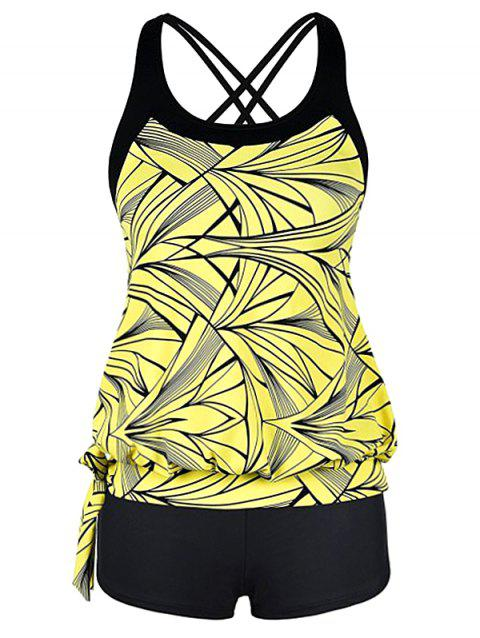 Plus Size Side Self Tie Printed Tankini Set - multicolor 1X