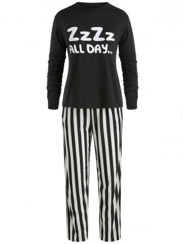 Sleep Set Letter Tee and Striped Pants. Embroidered Velvet Matching Couple  Pajamas e67ab72c5