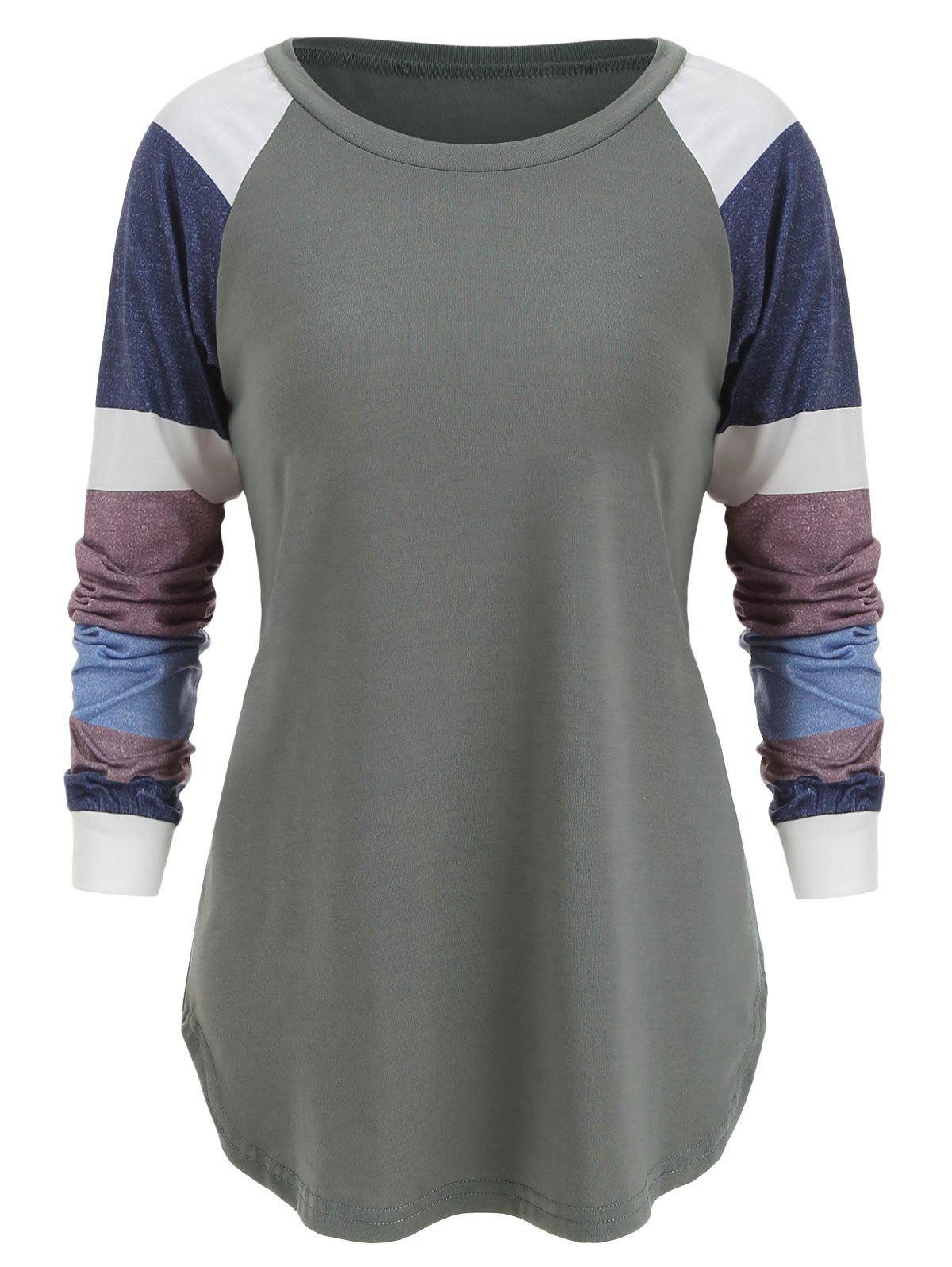 Round Neck Panel Top - BATTLESHIP GRAY S