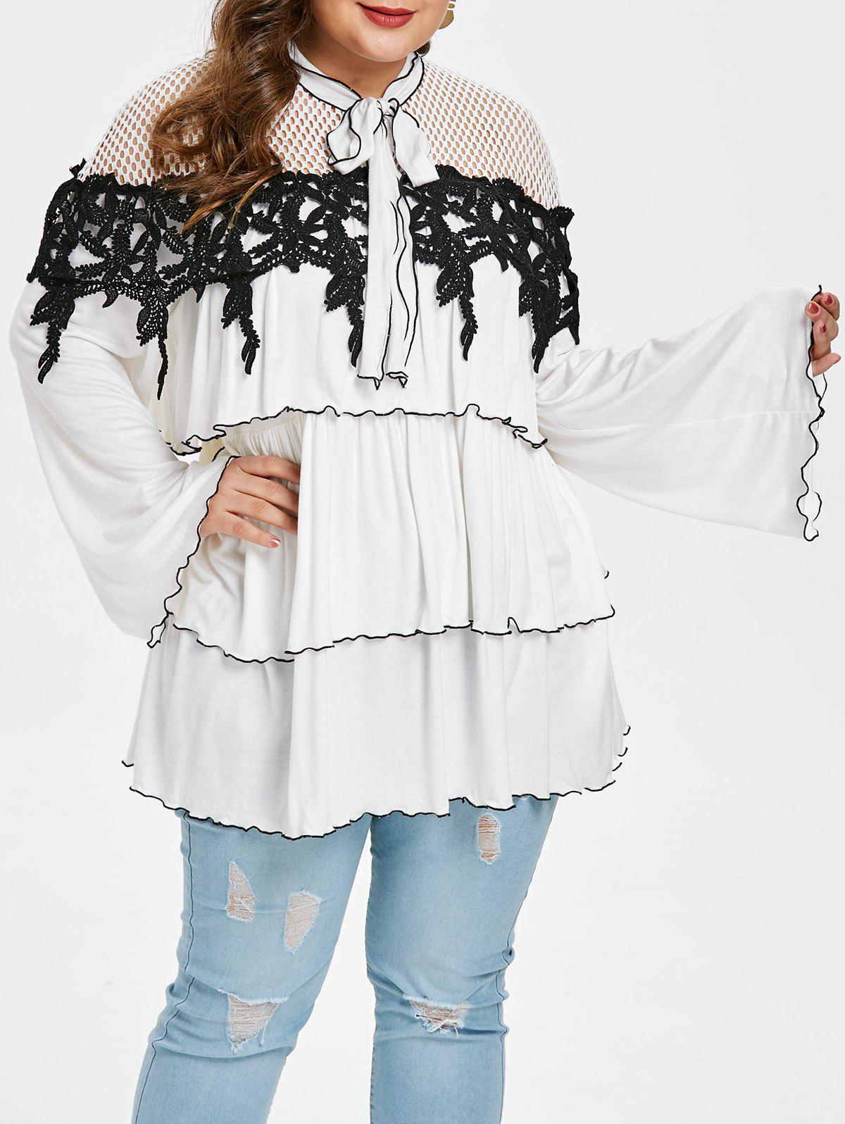 Plus Size Flare Sleeve Tiered Blouse - WHITE 2X