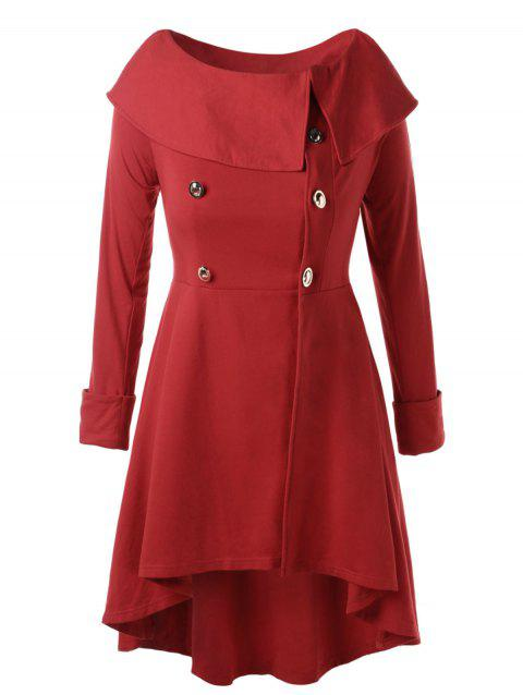 Plus Size Button Detail High Low Coat - RED L