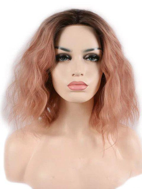 Center Parting Medium Colormix Natural Wavy Party Synthetic Wig - ORANGE PINK