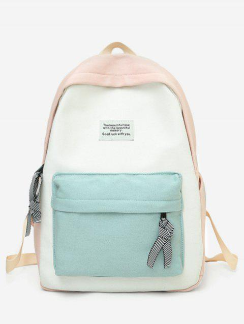 Letter Patchwork Color Block Backpack - LIGHT PINK