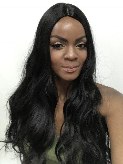 Center Parting Wavy Party Long Capless Synthetic Wig - BLACK