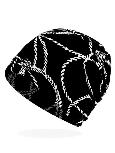Rope Print Stretchy Slouchy Beanie - BLACK