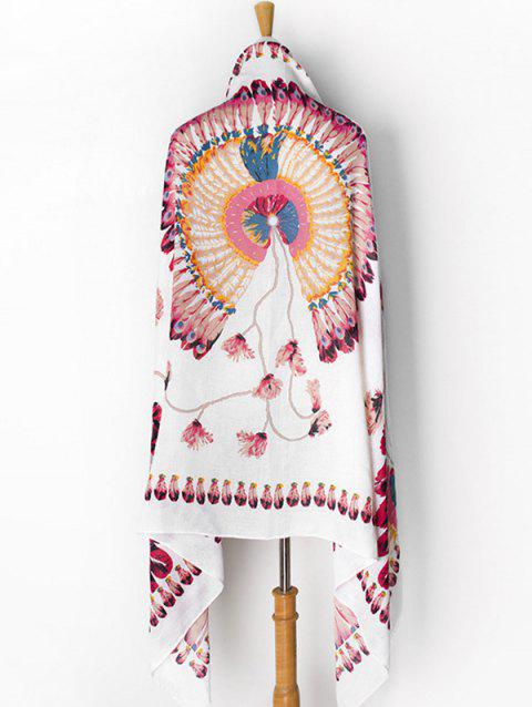Floral Printed Feather Decoration Scarf - WHITE