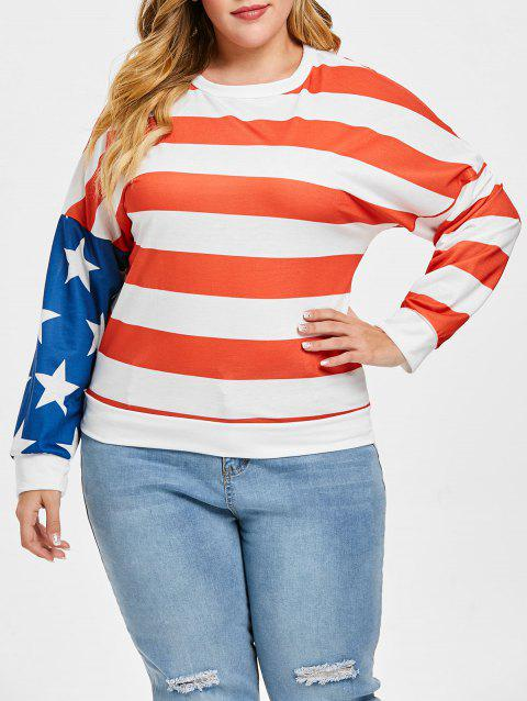 Plus Size American Flag Star Print Tee - MILK WHITE 2X