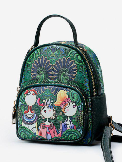 Forest Funny Print PU Leather Backpack - MEDIUM SEA GREEN