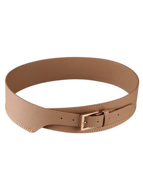 Leather Wide Buckle Waist Belt - APRICOT