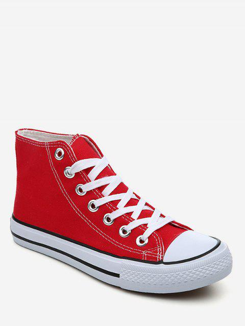 Lace Up Canvas Sneakers - RED EU 37