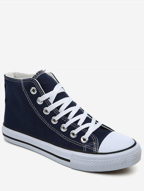 Lace Up Canvas Sneakers - BLUE EU 35