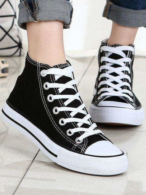 Lace Up Canvas Sneakers - BLACK EU 36