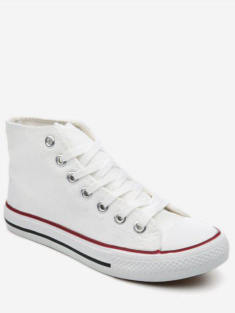 Lace Up Canvas Sneakers - WHITE EU 42