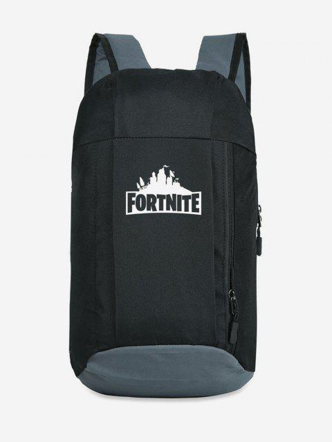 Letter Printed Large Capacity Backpack - GRAPHITE BLACK