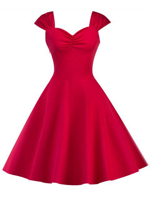 Vintage High Waist Sleeveless Flare Dress - RED L