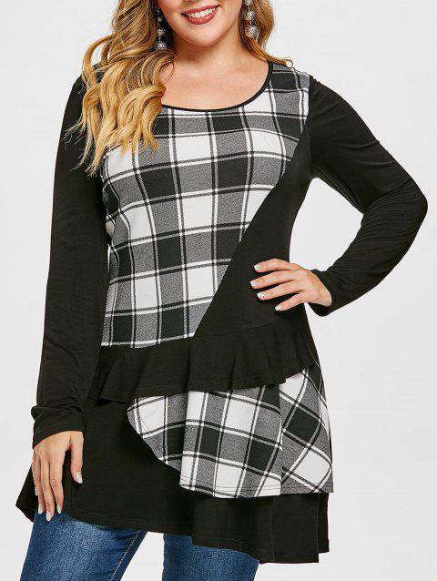 Plus Size Plaid Ruffle Layered T-shirt - BLACK 5X