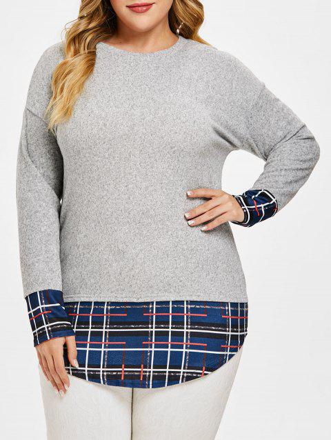 Plus Size Patchwork High Low Tunic Knitwear - GRAY CLOUD 1X