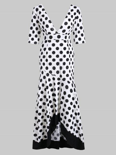 High Low Hem Polka Dot Dress - WHITE M