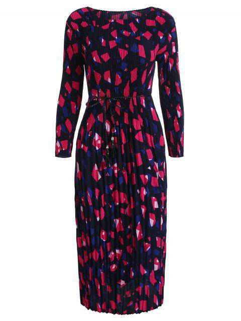 Long Sleeve Printed Pleated Dress - ROSE RED L