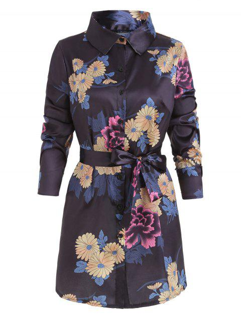 Long Sleeve Floral Print Button Dress - BLACK XL
