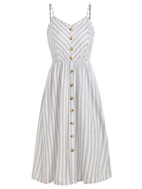 Button High Waist Striped Dress - LIGHT GRAY L