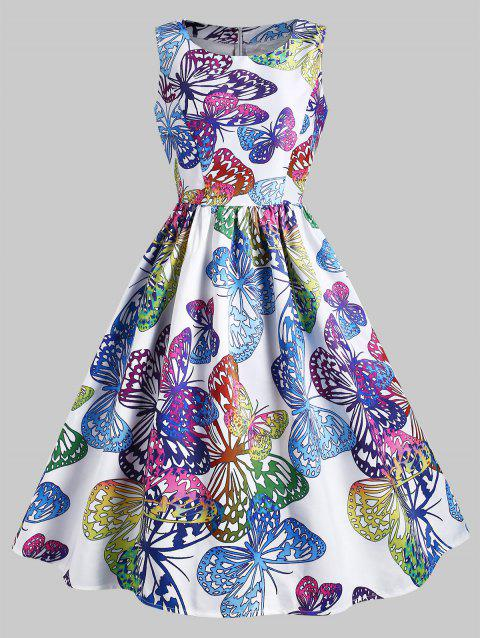 Butterfly Print Sleeveless A Line Dress - multicolor M